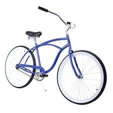 "Blue White 26"" ZF Bikes Classic Single Speed Mens Beach Cruiser Bike Bicycle"