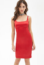 Forever 21 NWT Red Sateen/Satin Cocktail Bodycon Dress, S