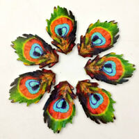 BG_ KQ_ 50Pcs Peacock Feather Wooden Buttons DIY Sewing Needlework Scrapbooking