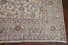 All-Over Floral Light Sage Green Kashaan Hand-Knotted Wool Area Rug Carpet 10x13