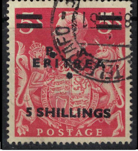 BA ERITREA stamp - GB KGVI Overprint ARMS 5shilling E24 Italy occup1951 nice cds