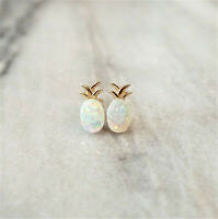 925 Yellow Gold Plated Pineapple Fire Opal Ear Stud Earrings Women Jewelry Gift