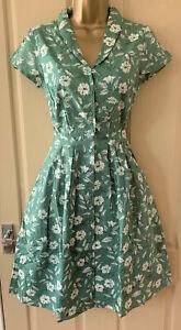 SEASALT aqua green Moorflower Brenda Dress 50s style with pockets Sizes 6 to 28