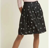 Modcloth Circus Black White Planet Solar System Skirt Science Size US 6 UK 10
