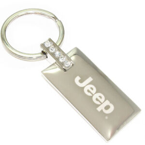 Jeep Logo Metal Chrome Rectangular Crystal Diamond Bling Key Chain