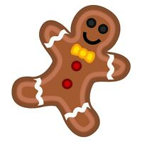 """3"""" Vinyl Sticker Brown Gingerbread Man Cookie House Merry Christmas Icing Candy"""
