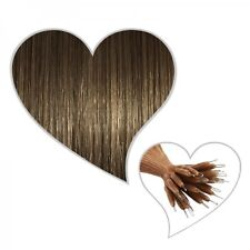 25 extensiones de Nanoanillos 60 cm marrón ceniza#08 auténtico indio Pelo sin