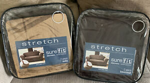 New SureFit Stretch Leather 2 Piece Furniture Sofa And Loveseat Slip Cover Brown