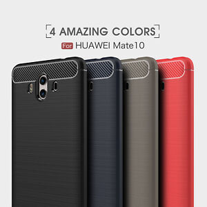 For Huawei Mate 10 / Mate 10 Pro Shockproof Armor Carbon Fiber Hybrid Brush Case