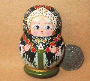 Matryoshka Fridge Magnet Black Green Russian doll HAND PAINTED MITINA signed ART