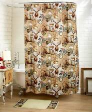 Eclectic Vintage Retro Rustic Shower Curtain Rug Old Fashion Bear Deer Roses Set