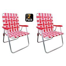 Folding Chair Red/White  Reinforced Aluminum Webbed Lawn Camp Seat (2-Pack)
