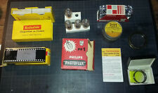 Lot materiel photo ancien divers : flash, filtre, diapositives, bague 180 m/m