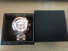 Michael Kors Mens Classic Rose Gold Oversized Chronograph Luxury Watch New