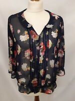 Next Floral Chiffon Blouse - Size 10 - Navy & Pink - Long Sleeve