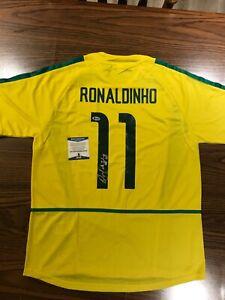 "Ronaldinho Signed Autographed Team Brazil Jersey Inscribed ""R10"" Beckett COA"
