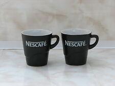 2pc Nescafe cup mug ceramic black coffee used rare