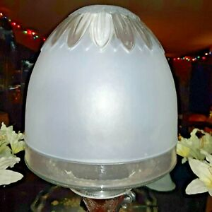 Large Handmade Fenton Frosted Glass Lamp Shade w/ Clear Petal Design Bell Shape