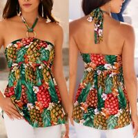 Women Sexy Floral Tropical Strapless Halter Neck Boob Tube Top Beach Vest Blouse