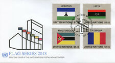 United Nations UN 2018 FDC Flag Series 54 Libya Lesotho 4v Cover Flags Stamps