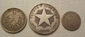 10 20 and 40 Centavos old world silver Coins  No Reserve
