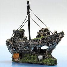 Aquarium Ornament Wreck Sailing Boat Sunk Ship Destroyer Cave Fish Tank Decor