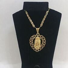 "Gold Plated Virgin Guadalupe Medalla Pendant Necklace Cadena 22"" Oro Laminado"