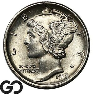 1918-D Mercury Dime, Beautiful Lustrous Solid Gem BU++