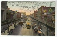 [53753] 1907 POSTCARD TROLLEY CARS IN THE BOWERY, NEW YORK CITY (UNDIVIDED BACK)