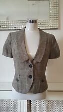 Next Grey Linen Dogtooth Check Tailored Short Sleeved Formal Jacket Size 10 BNWT
