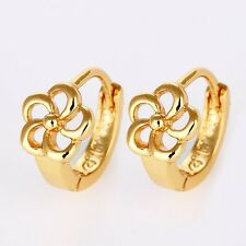 New Flower Earrings 18k Yellow Gold Filled Mini Hoops 12mm Charming Jewelry