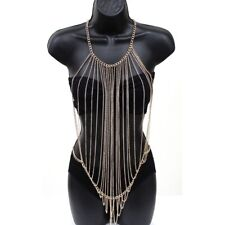 Metal Body Full Chain Jewelry Necklace Sexy Bikini Belly Harness For Ladies Gold