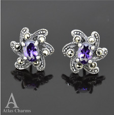 Art Deco Marcasite Amethyst Earrings Studs 925 Silver Wedding Birthday gifts Her