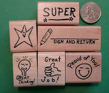 Hand-Drawn Teachers' Rubber Stamp Set of 6 for general classroom use