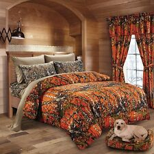 7 PC ORANGE CAMO COMFORTER WITH NATURAL SHEET SET FULL SIZE SET CAMOUFLAGE WOODS