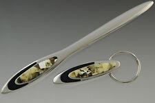 Genuine BALTIC AMBER Mosaic Letter Opener/Paper Knife & Keyring/Keychain 1004-3