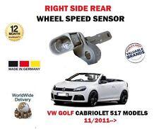 POUR VW VOLKSWAGEN GOLF 517 CABRIOLET 2011-  ARRIÈRE COTE DROIT CAPTEUR ABS ROUE