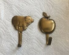 2 Brass Hooks - One Pig & One Apple