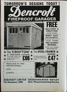 Dencroft Limitierte, Batley. Feuerfest Garagen Chip-Faced Beton Vintage Ad 1967