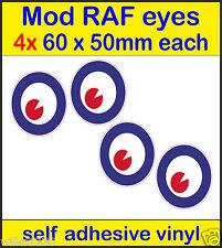 4 60x50mm RAF MOD helmet eyes The Who Mod Target Scooter Decal sticker Vespa car