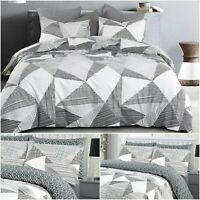 Geometric Duvet Cover Set 100% Cotton 200TC Bedding  Double King Super King Size