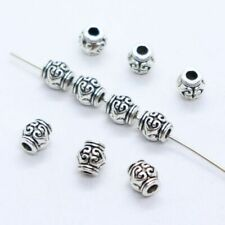 24//72pcs Tibetan Silver Heart Tube Charm Loose Spacer Beads Findings 6x6.5mm
