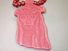 Christian Pendant Necklace RED Wood YESHUA Face of Jesus and Beads GREAT GIFT!