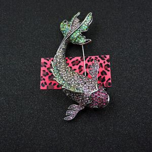 Women's Green/Pink Crystal Rhinestone Fish Betsey Johnson Brooch Pin