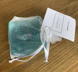 New Jo Downs Handmade Glass Earring Dish Blue Green Bubble Design Gift