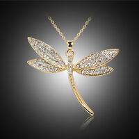 Women Crystal Dragonfly Pendant Necklace 18K Gold Plated Chain Choker Jewelry