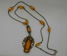 "Vintage 1920's Amber Czechoslovakian Art Glass Necklace - Art Noveau~Enamel~ 34"""