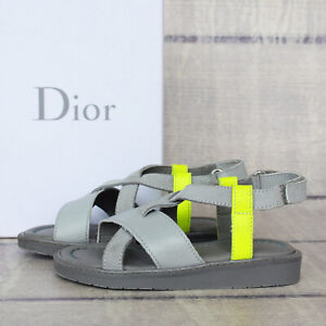 Dior Kids Baby Gray Yellow Leather Sandals 23 US 7 Summer Shoes