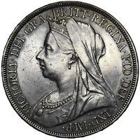 1896 LX CROWN - VICTORIA BRITISH SILVER COIN - V NICE