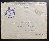 1943 Field Post Office In Egypt Censored OAS Cover To Aukland New Zeeland